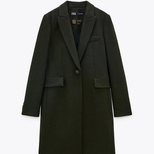 NWT Zara Menswear-Style Coat -- Billiard Green